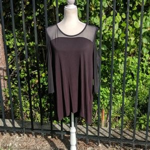 Black tunic with cold shoulders & mesh sleeves